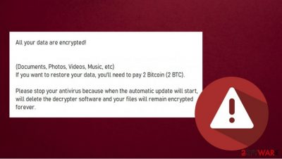 All your data are encrypted ransomware