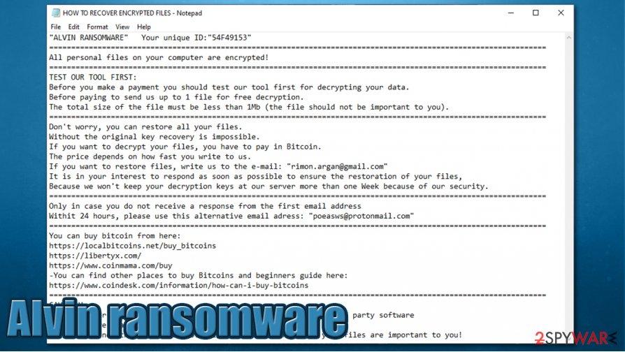 Alvin ransomware