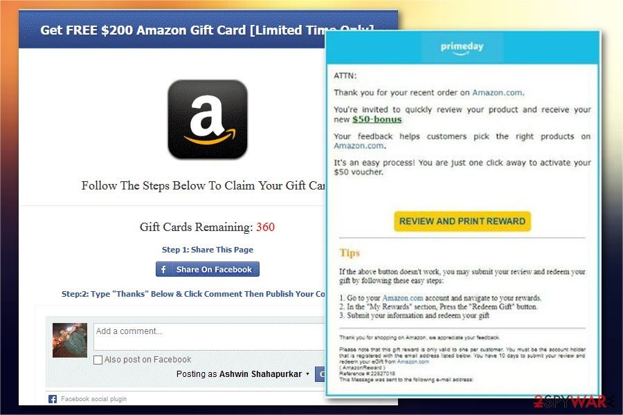 Amazon Gift Card scam  3 versions listed  2019 Guide provided