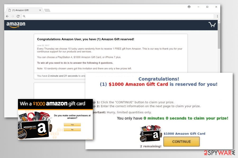 Amazon Rewards Event malware versions