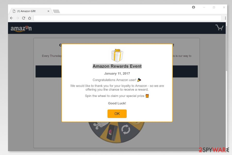 "Screenshot of  ""Amazon Rewards Event"" scam"