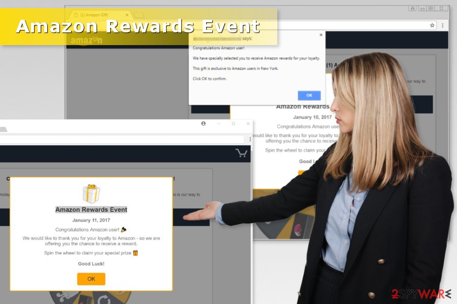 "Examples of  ""Amazon Rewards Event"" scams"