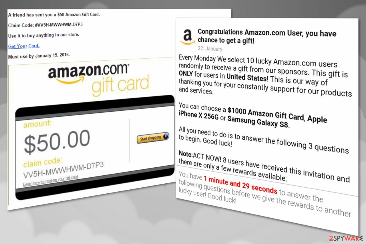 Amazon virus offering fake gift cards