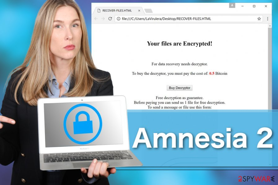Image demonstrating Amnesia 2 ransomware virus
