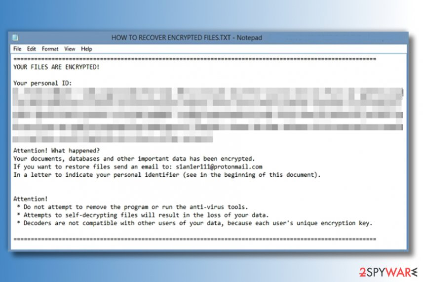 The ransom note of Amnesia ransomware