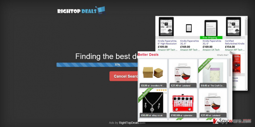 RightTopDeals ads on Chrome