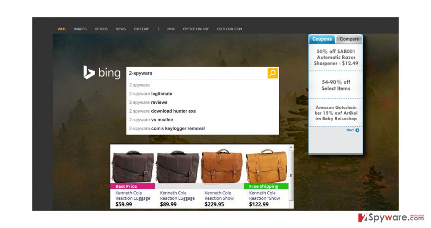 VIDKit ads while browsing with Bing search
