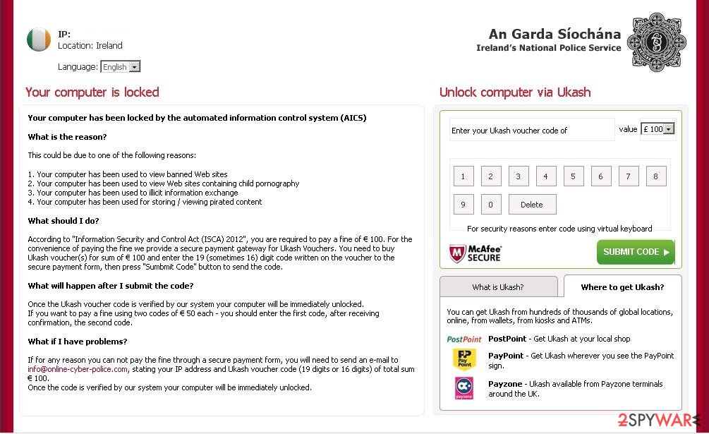 An Garda Siochana virus snapshot