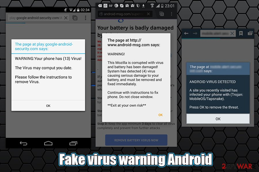 Fake virus warning Android