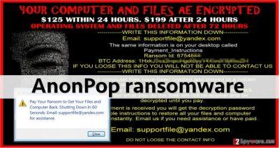 Screenshot of ransom note left by Anonpop virus