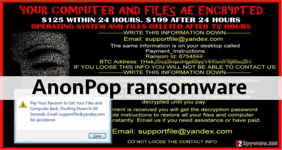 Screenshot of ransom note left by Anonpop virus