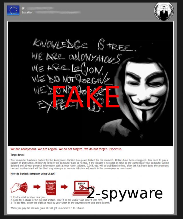 Anonymous Ukash Virus