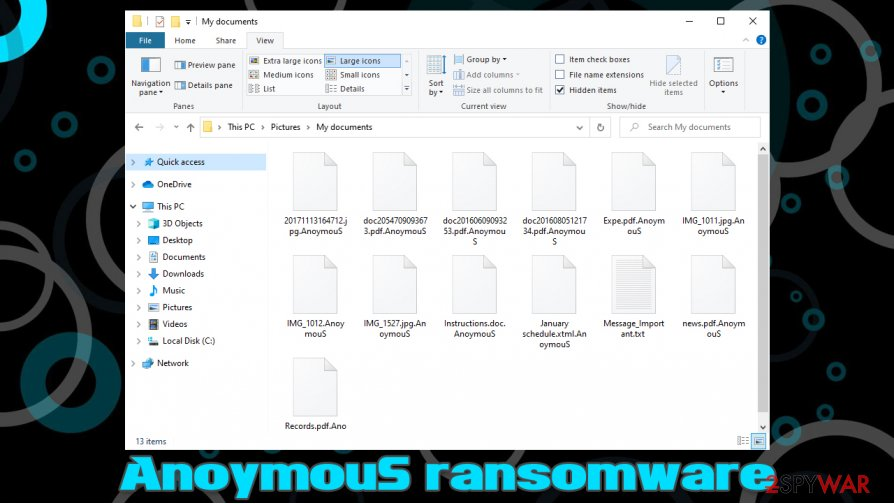 AnoymouS ransomware encrypted files