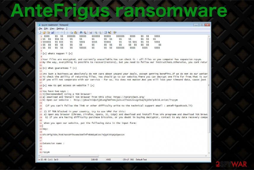 AnteFrigus ransomware virus