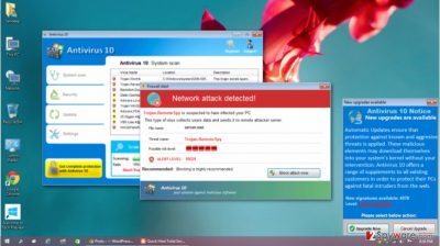 Picture of the fake Antivirus 10 scanner