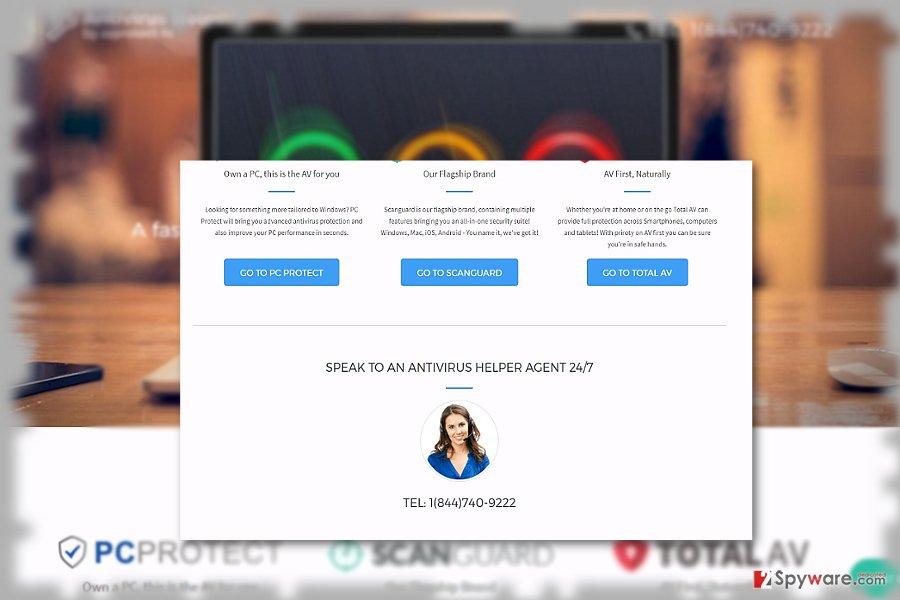 The image displaying Windows Antivirus Helper official website