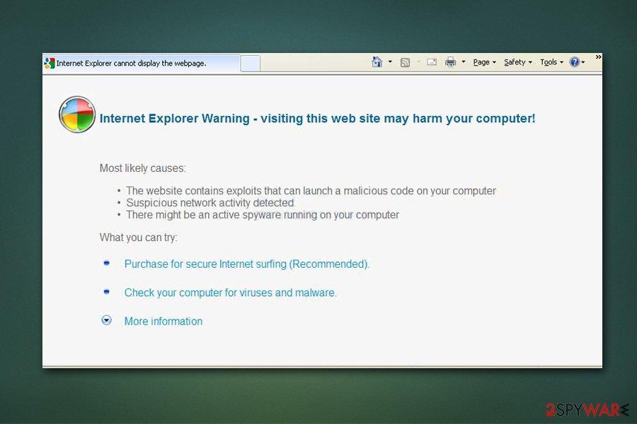 Antivirus Scan fake warning on Internet Explorer