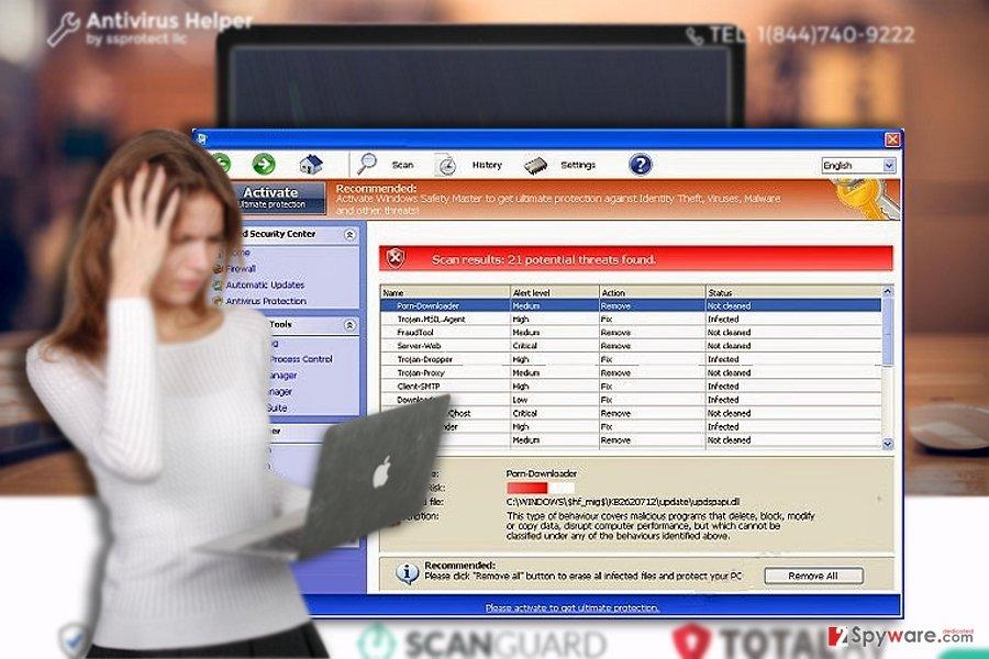The demonstration of Windows Antivirus Helper app