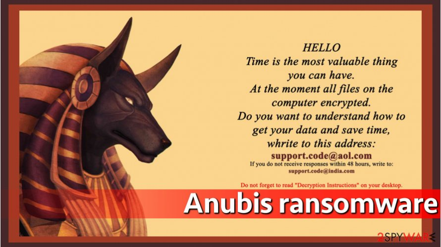 Anubis ransomware asks for money