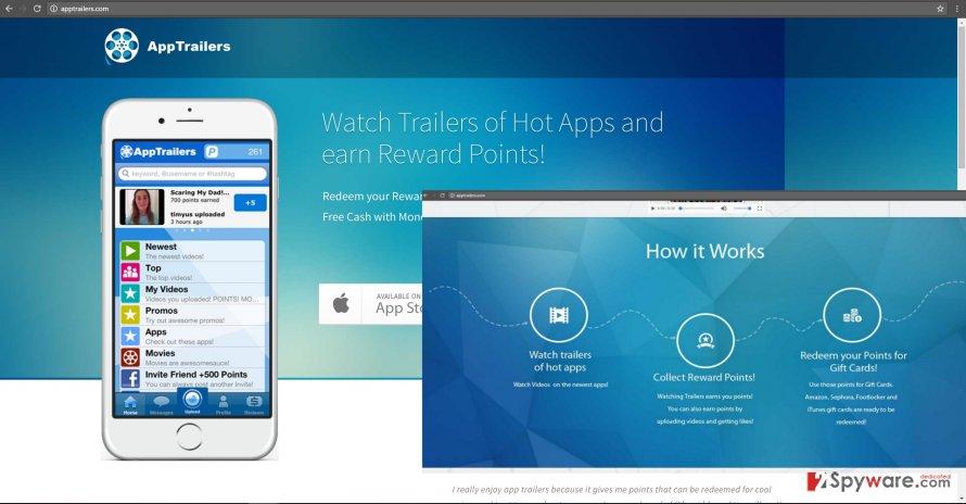 The screenshot revealing AppTrailers
