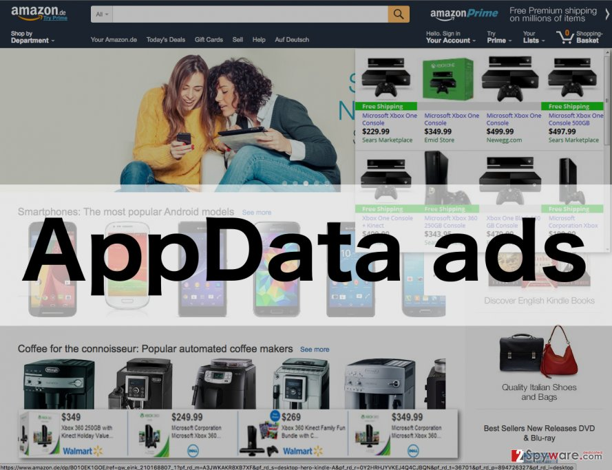 An illustration of the AppData adware ads