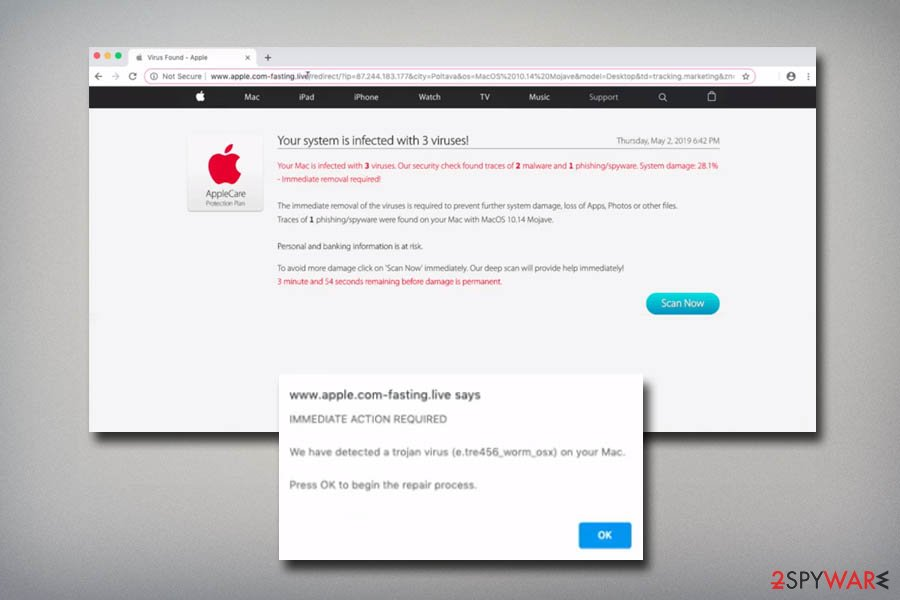 Remove Apple com-fasting live (Support Scam) - Removal