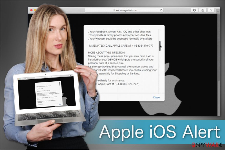 """Apple iOS Alert"" scam illustration"