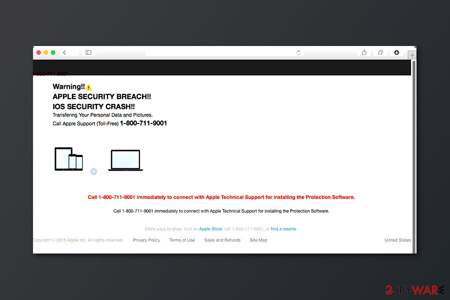 APPLE SECURITY BREACH scam website