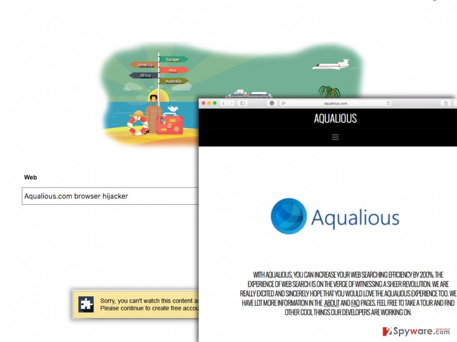 Aqualious.com hijacker adjusts browser settings without user's knowledge