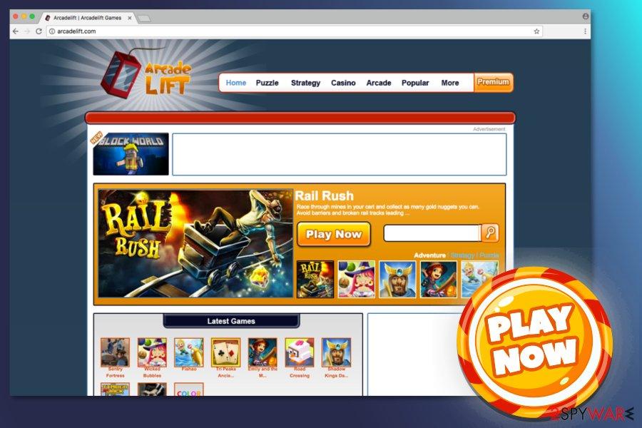 Screenshot of ArcadeLift site