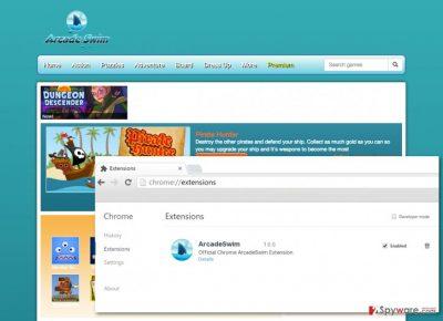 An image of Arcade Swim adware website