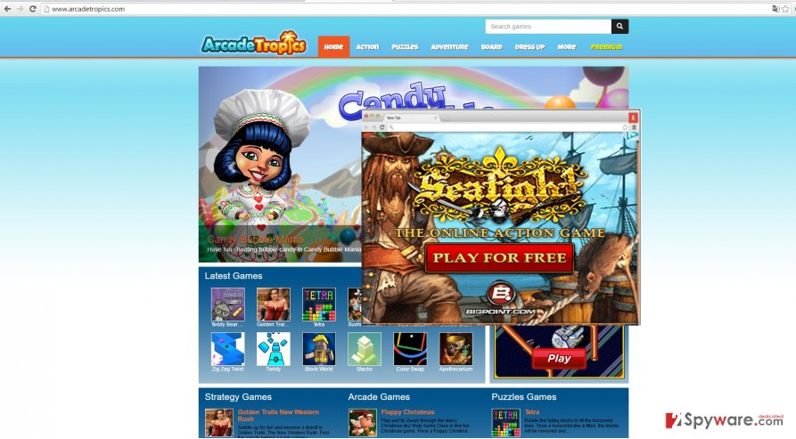 The image showing ArcadeTropics ads