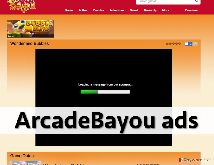ArcadeBayou adware displays various advertisements