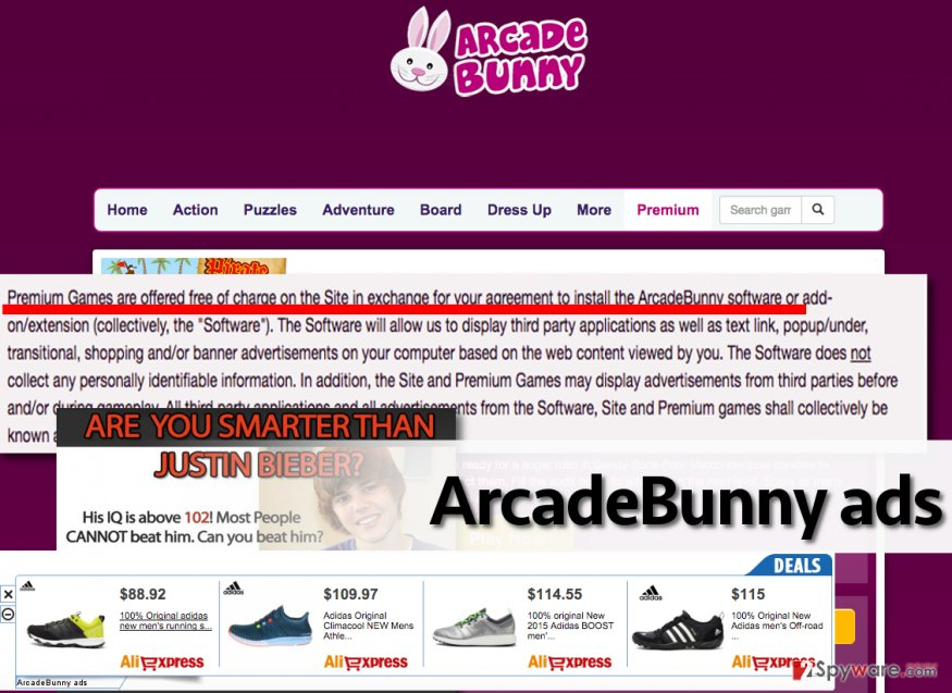 Picture showing ArcadeBunny adware and examples of ads
