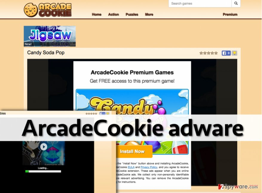 Annoying ArcadeCookie ads