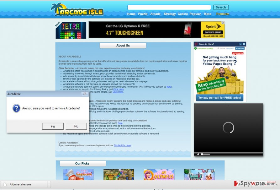 An example of ArcadeIsle virus ads