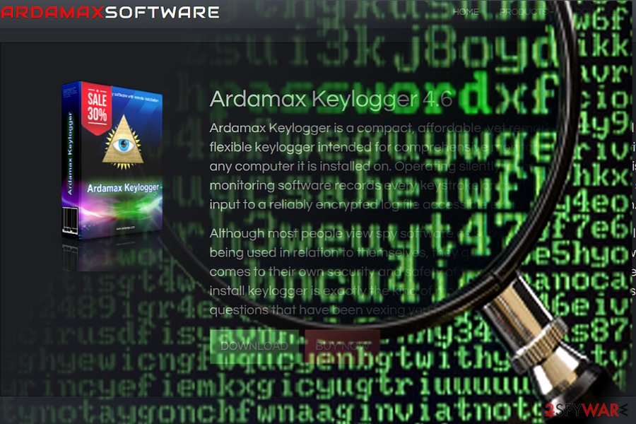 The screenshot of Ardamax keylogger