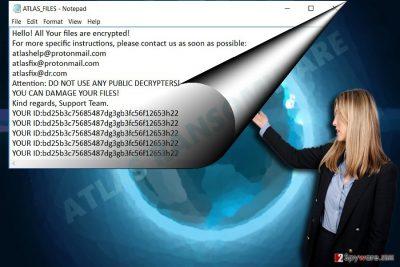 The screenshot illustrating ATLAS ransomware