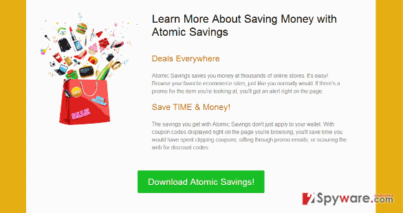 """Ads by Atomic Savings"" virus snapshot"