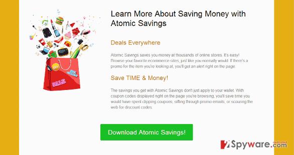 """""""Ads by Atomic Savings"""" virus snapshot"""
