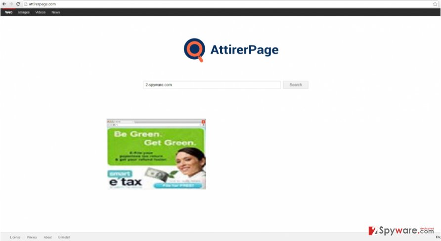 The picture displaying AttirerPage.com virus