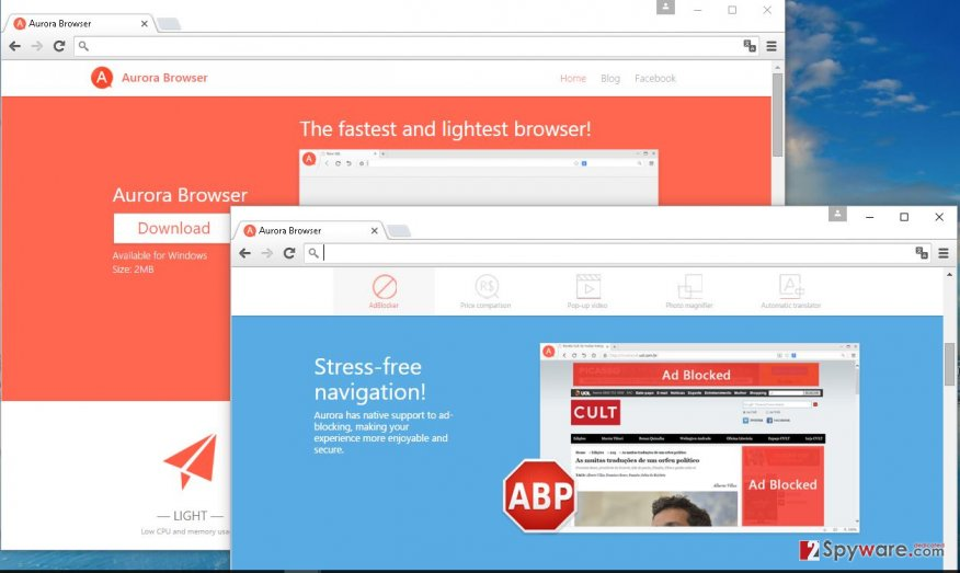 Aurora Browser adware