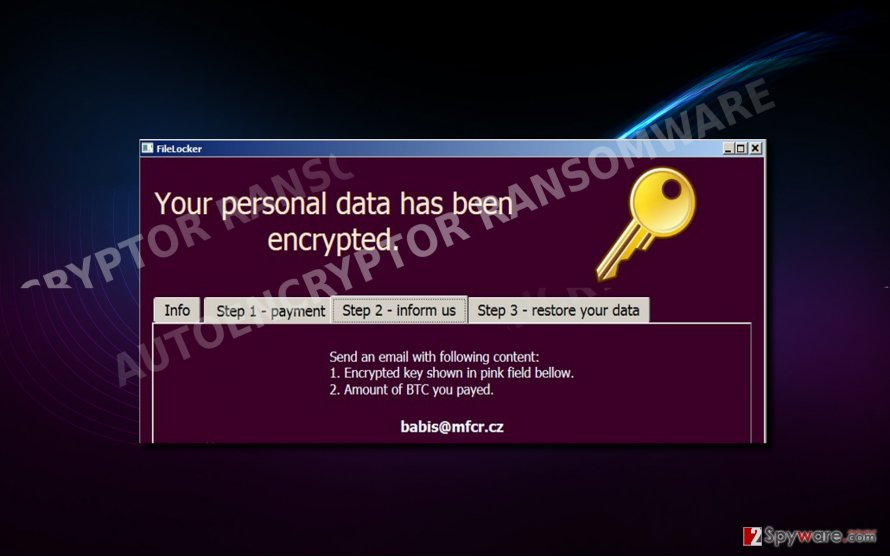 The example of AutoEncryptor virus