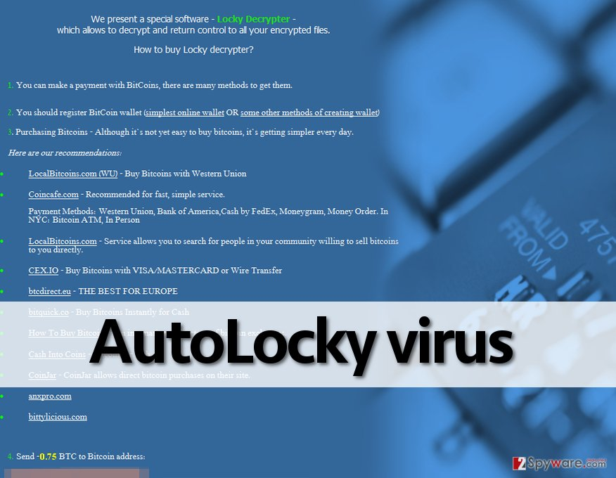 AutoLocky ransomware demands money