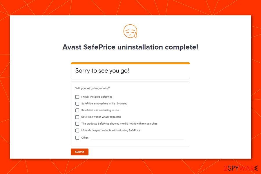 Avast SafePrice uninstallation