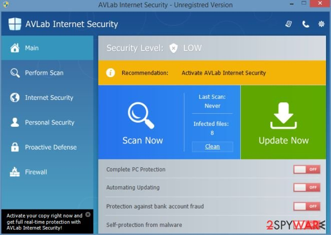 AVLab Internet Security snapshot