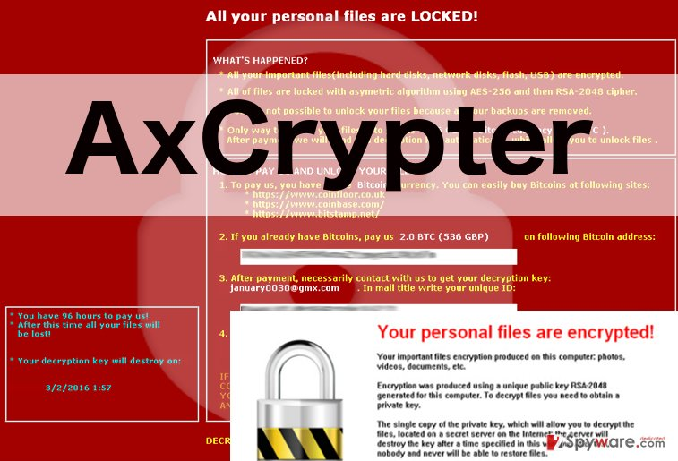 An image of AxCrypter ransomware virus