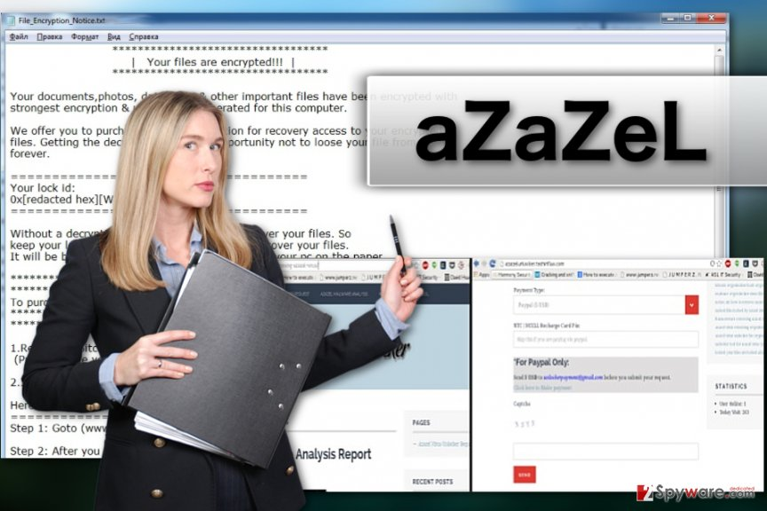 Image of the aZaZeL ransomware virus