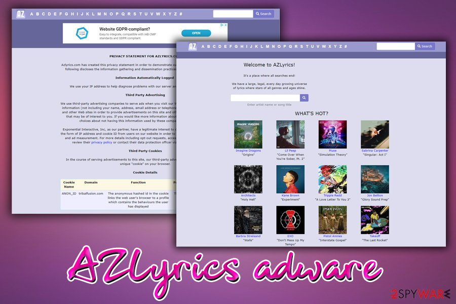 AZLyrics main page