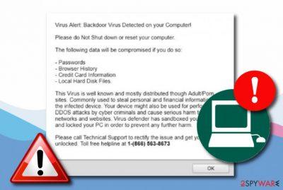 Backdoor virus detected tech support scam